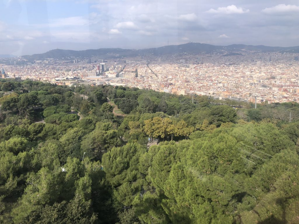 The view from the cable cars up to Montjuïc Castle