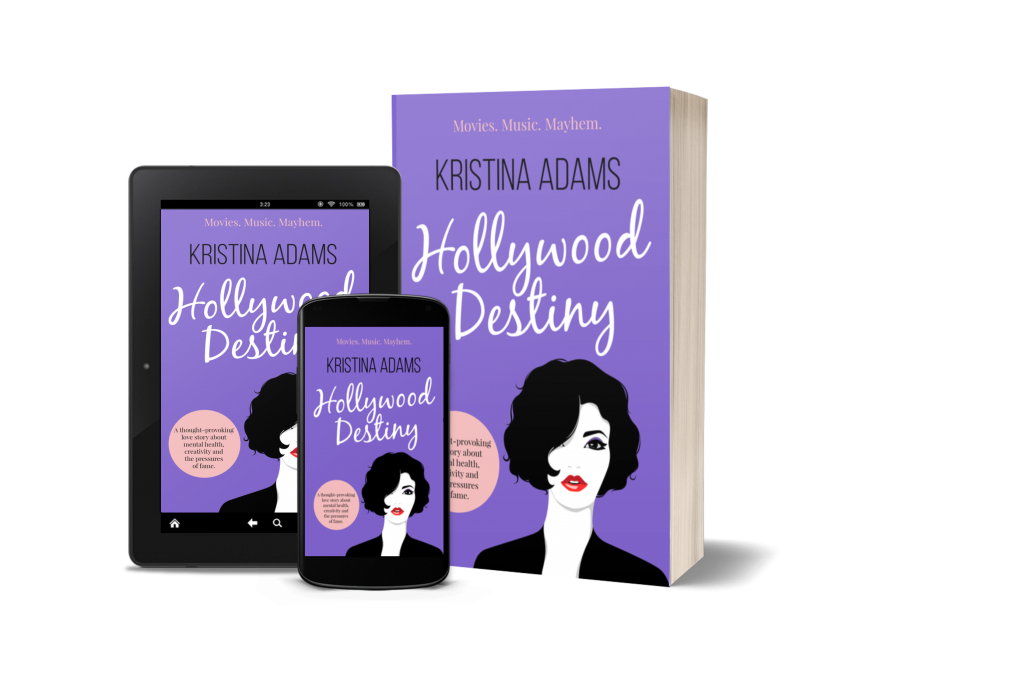 3D cover mockup of Hollywood Destiny in paperback, ereader, and phone